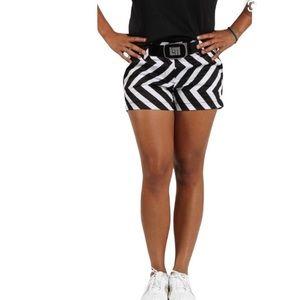 Loudmouth black/ white daktari short shorts-0 NWT